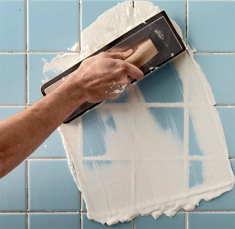 how to regrout bathroom tiles